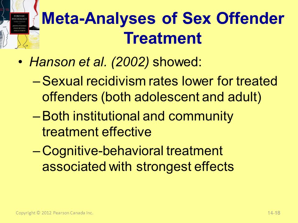 Copyright © 2012 Pearson Canada Inc. 18 Meta-Analyses of Sex Offender Treatment Hanson et al.