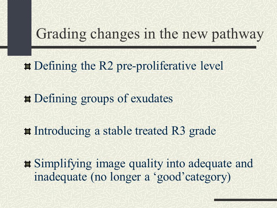 Grading changes in the new pathway Defining the R2 pre-proliferative level Defining groups of exudates Introducing a stable treated R3 grade Simplifying image quality into adequate and inadequate (no longer a 'good'category)