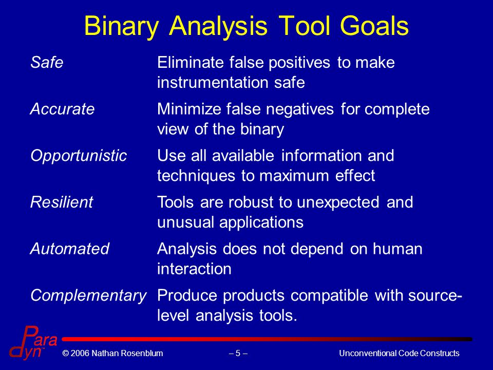 – 5 –© 2006 Nathan RosenblumUnconventional Code Constructs Binary Analysis Tool Goals SafeEliminate false positives to make instrumentation safe AccurateMinimize false negatives for complete view of the binary OpportunisticUse all available information and techniques to maximum effect ResilientTools are robust to unexpected and unusual applications AutomatedAnalysis does not depend on human interaction ComplementaryProduce products compatible with source- level analysis tools.