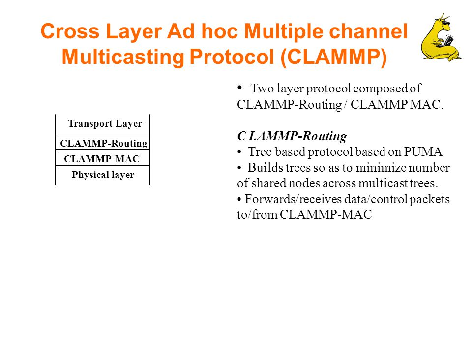 Cross Layer Ad hoc Multiple channel Multicasting Protocol (CLAMMP) Two layer protocol composed of CLAMMP-Routing / CLAMMP MAC.