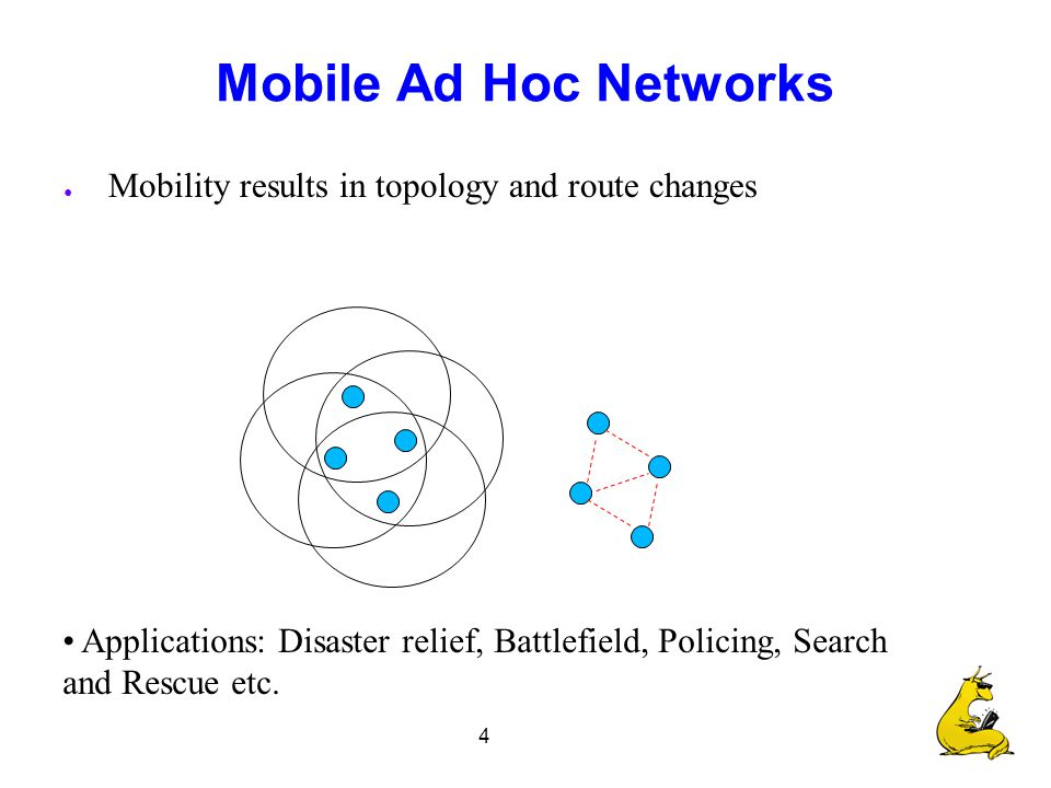 4 Mobile Ad Hoc Networks ● Mobility results in topology and route changes Applications: Disaster relief, Battlefield, Policing, Search and Rescue etc.