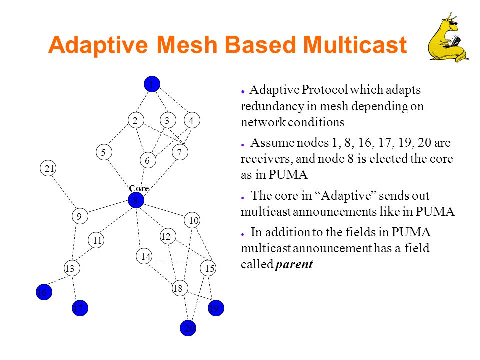 Adaptive Mesh Based Multicast 1 234 5 6 7 8 9 10 11 12 13 14 15 16 17 18 20 19 ● Adaptive Protocol which adapts redundancy in mesh depending on network conditions ● Assume nodes 1, 8, 16, 17, 19, 20 are receivers, and node 8 is elected the core as in PUMA ● The core in Adaptive sends out multicast announcements like in PUMA ● In addition to the fields in PUMA multicast announcement has a field called parent 21 Core