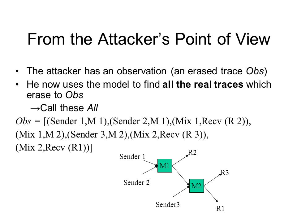 From the Attacker's Point of View The attacker has an observation (an erased trace Obs) He now uses the model to find all the real traces which erase to Obs → Call these All Obs = [(Sender 1,M 1),(Sender 2,M 1),(Mix 1,Recv (R 2)), (Mix 1,M 2),(Sender 3,M 2),(Mix 2,Recv (R 3)), (Mix 2,Recv (R1))] M2 M1 Sender 2 Sender 1 Sender3 R2 R1 R3