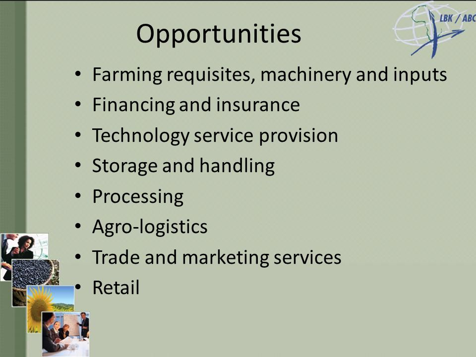 Opportunities Farming requisites, machinery and inputs Financing and insurance Technology service provision Storage and handling Processing Agro-logistics Trade and marketing services Retail