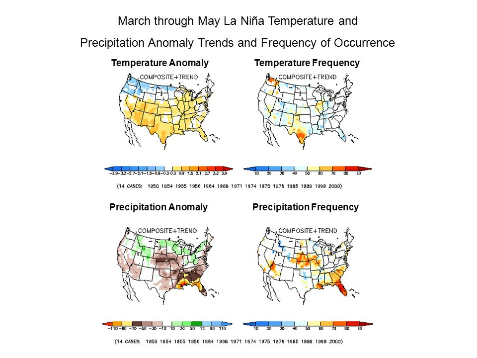 March through May La Niña Temperature and Precipitation Anomaly Trends and Frequency of Occurrence Temperature Anomaly Temperature Frequency Precipitation Anomaly Precipitation Frequency
