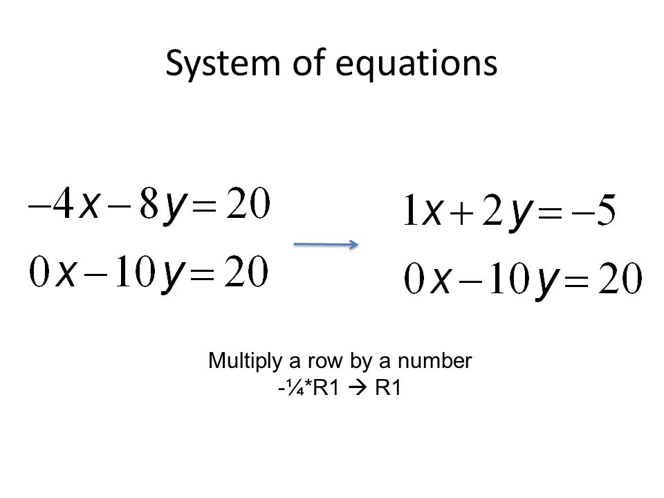 System of equations Multiply a row by a number -¼*R1  R1