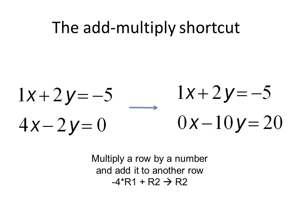 The add-multiply shortcut Multiply a row by a number and add it to another row -4*R1 + R2  R2