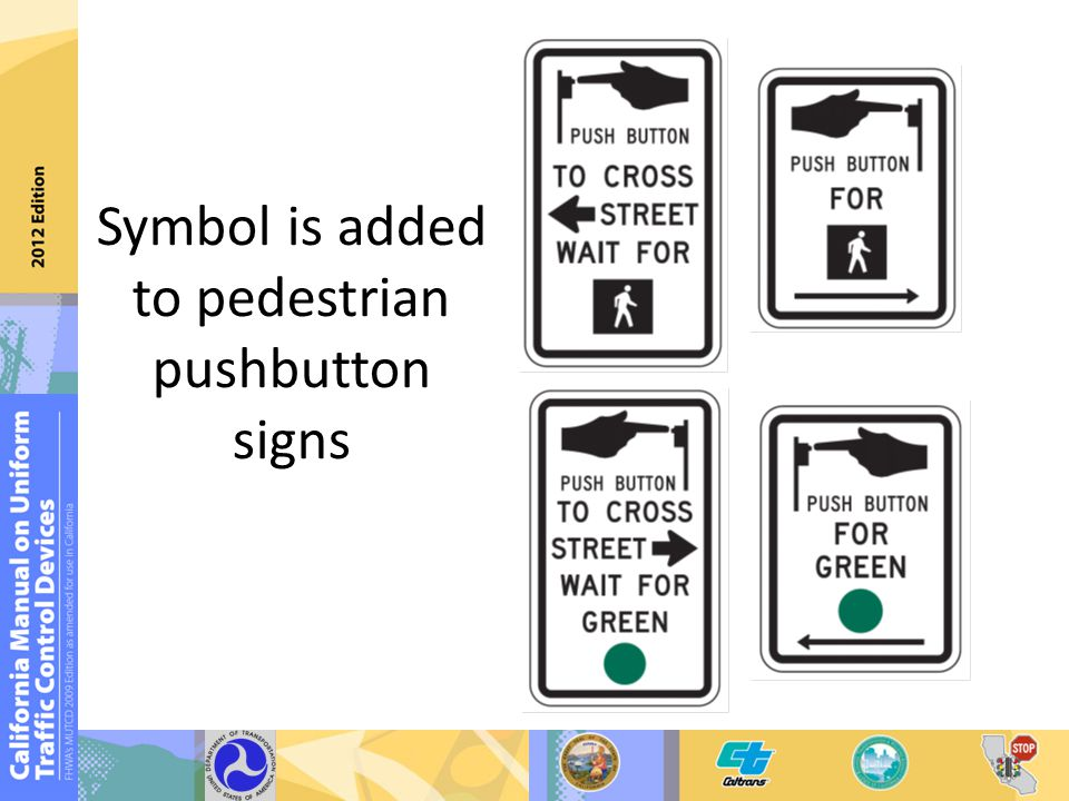 Symbol is added to pedestrian pushbutton signs