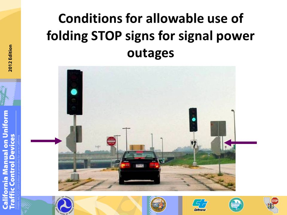 Conditions for allowable use of folding STOP signs for signal power outages