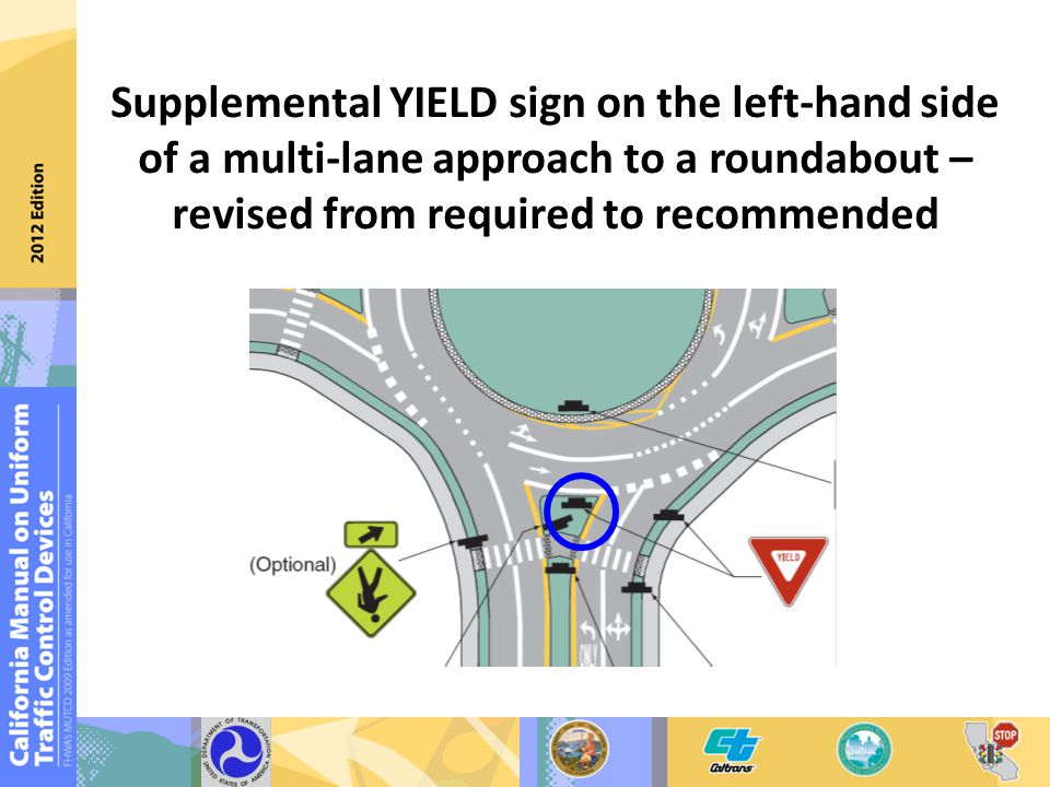 Supplemental YIELD sign on the left-hand side of a multi-lane approach to a roundabout – revised from required to recommended