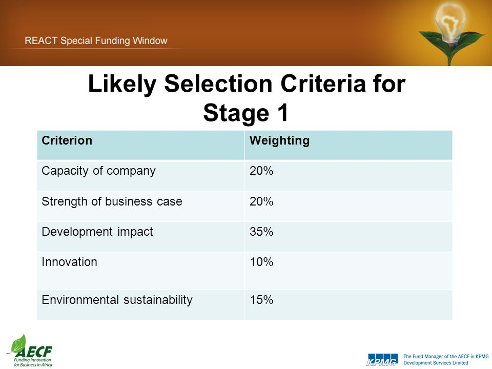 Likely Selection Criteria for Stage 1 CriterionWeighting Capacity of company20% Strength of business case20% Development impact35% Innovation10% Environmental sustainability15%