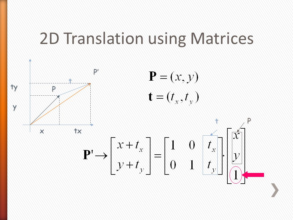 2D Translation using Matrices P x y tx ty P'P'P'P' t tP