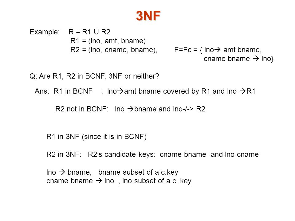 3NF Example: R = R1 U R2 R1 = (lno, amt, bname) R2 = (lno, cname, bname), F=Fc = { lno  amt bname, cname bname  lno} Q: Are R1, R2 in BCNF, 3NF or neither.