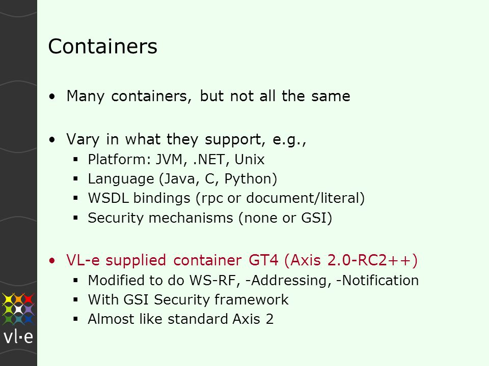 Containers Many containers, but not all the same Vary in what they support, e.g.,  Platform: JVM,.NET, Unix  Language (Java, C, Python)  WSDL bindings (rpc or document/literal)  Security mechanisms (none or GSI) VL-e supplied container GT4 (Axis 2.0-RC2++)  Modified to do WS-RF, -Addressing, -Notification  With GSI Security framework  Almost like standard Axis 2