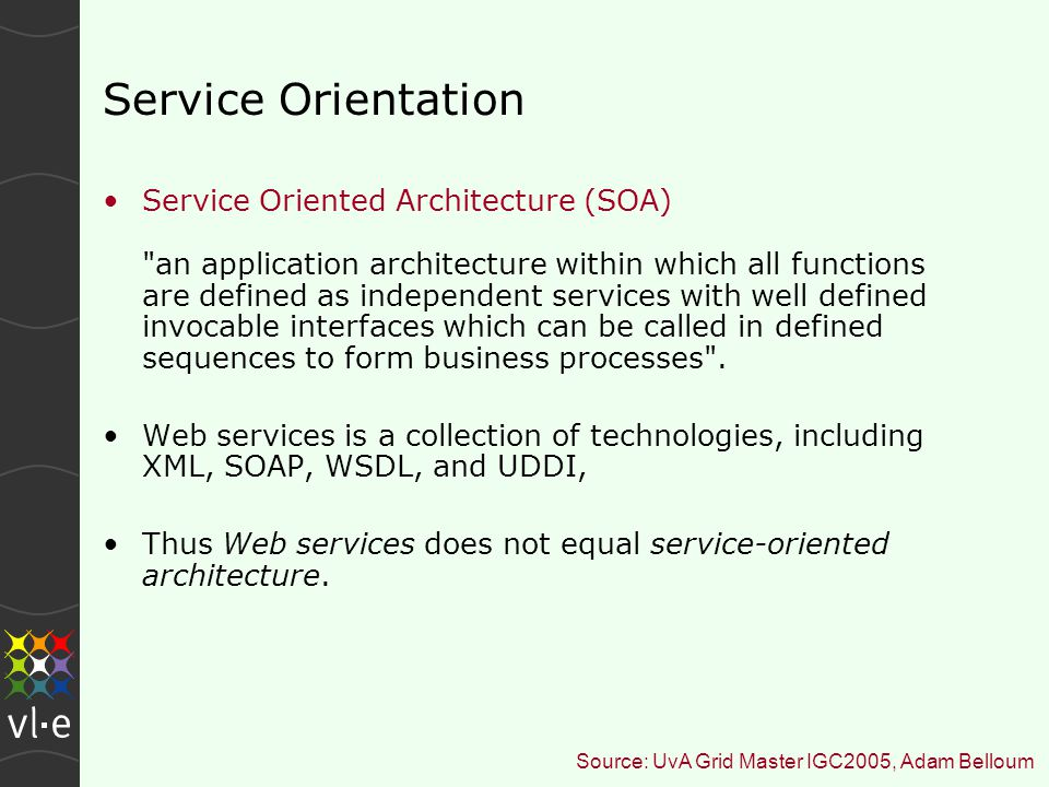 Service Orientation Service Oriented Architecture (SOA) an application architecture within which all functions are defined as independent services with well defined invocable interfaces which can be called in defined sequences to form business processes .