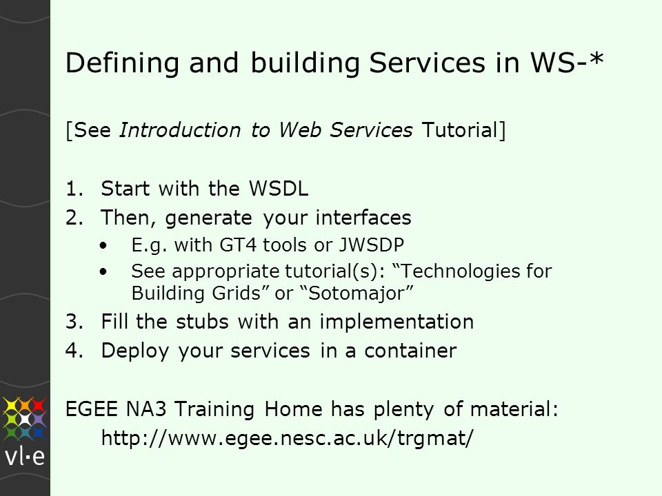 Defining and building Services in WS-* [See Introduction to Web Services Tutorial] 1.Start with the WSDL 2.Then, generate your interfaces E.g.