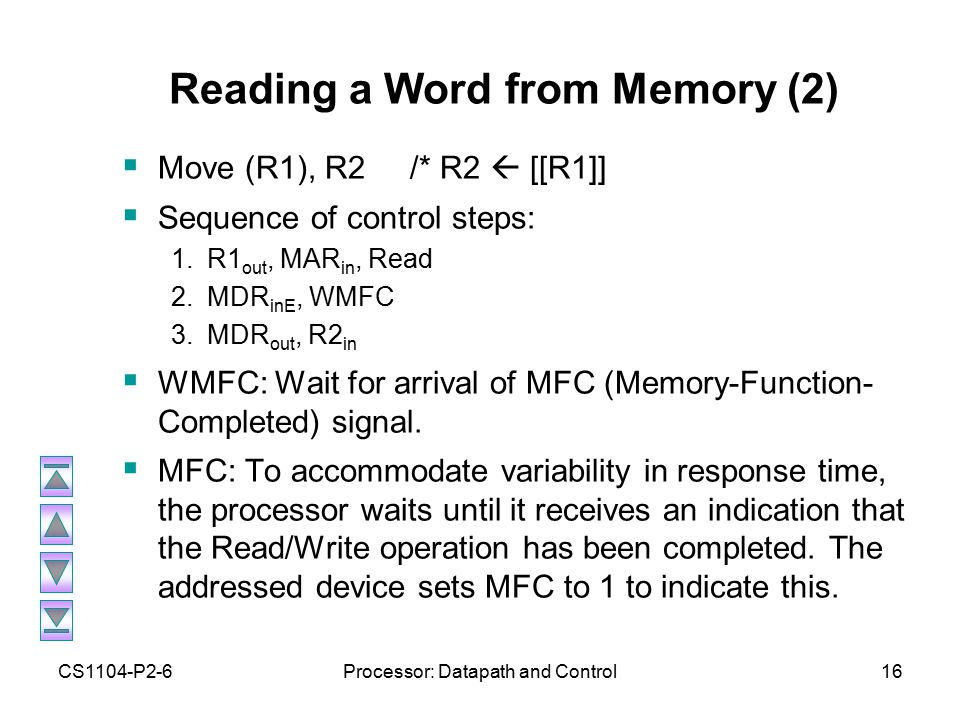 CS1104-P2-6Processor: Datapath and Control16 Reading a Word from Memory (2)  Move (R1), R2/* R2  [[R1]]  Sequence of control steps: 1.R1 out, MAR in, Read 2.MDR inE, WMFC 3.MDR out, R2 in  WMFC: Wait for arrival of MFC (Memory-Function- Completed) signal.