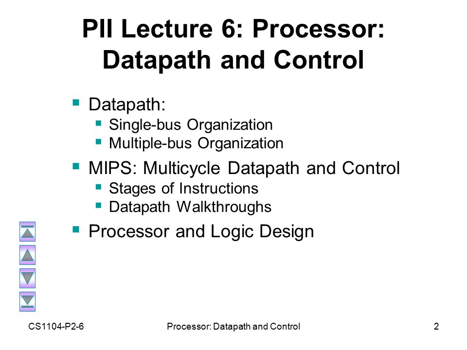 CS1104-P2-6Processor: Datapath and Control2 PII Lecture 6: Processor: Datapath and Control  Datapath:  Single-bus Organization  Multiple-bus Organization  MIPS: Multicycle Datapath and Control  Stages of Instructions  Datapath Walkthroughs  Processor and Logic Design