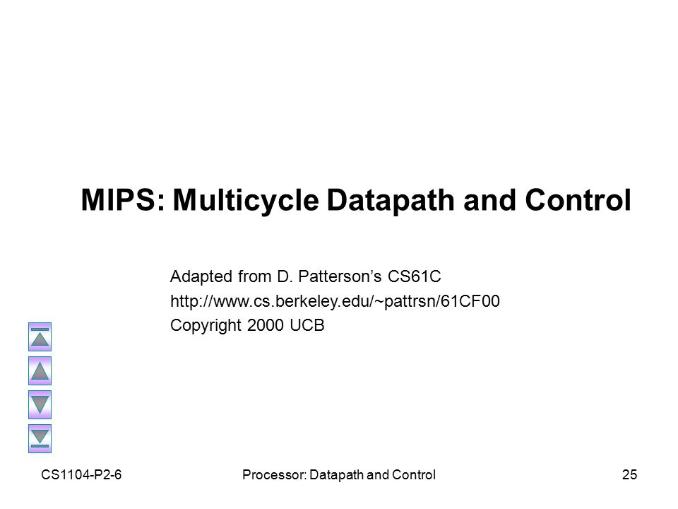 CS1104-P2-6Processor: Datapath and Control25 MIPS: Multicycle Datapath and Control Adapted from D.