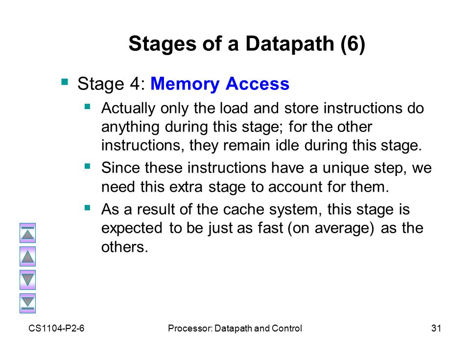 CS1104-P2-6Processor: Datapath and Control31 Stages of a Datapath (6)  Stage 4: Memory Access  Actually only the load and store instructions do anything during this stage; for the other instructions, they remain idle during this stage.
