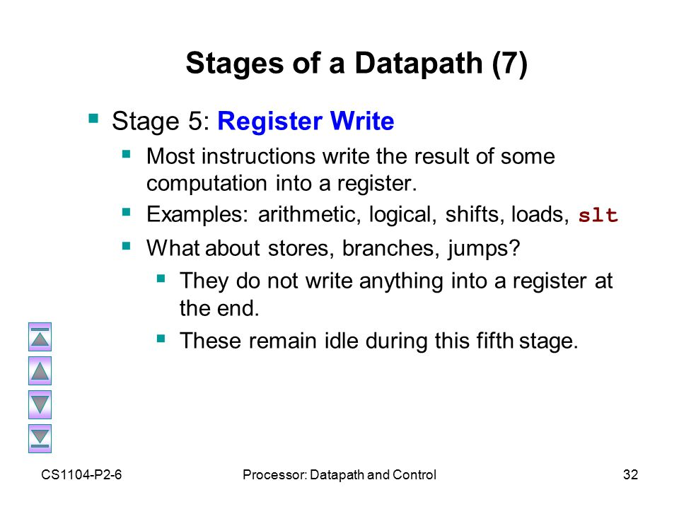 CS1104-P2-6Processor: Datapath and Control32 Stages of a Datapath (7)  Stage 5: Register Write  Most instructions write the result of some computation into a register.