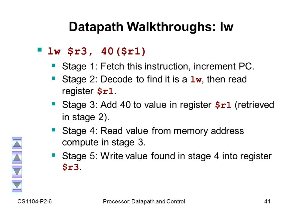 CS1104-P2-6Processor: Datapath and Control41 Datapath Walkthroughs: lw  lw $r3, 40($r1)  Stage 1: Fetch this instruction, increment PC.