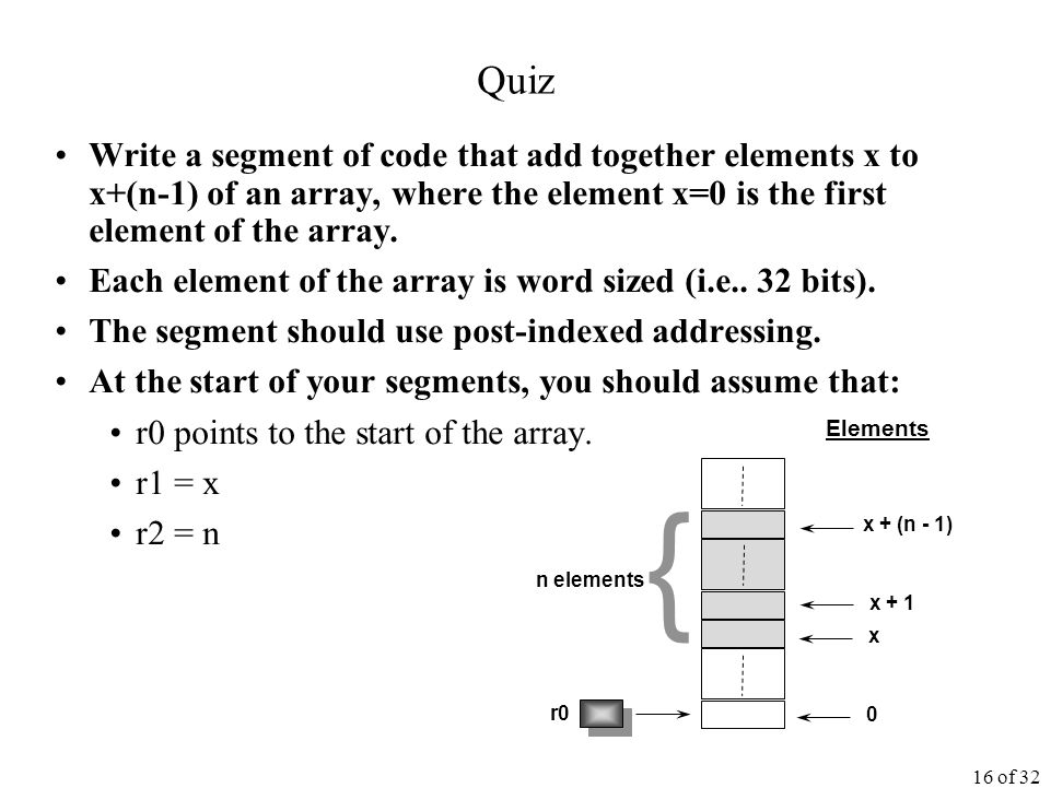 16 of 32 Quiz Write a segment of code that add together elements x to x+(n-1) of an array, where the element x=0 is the first element of the array.