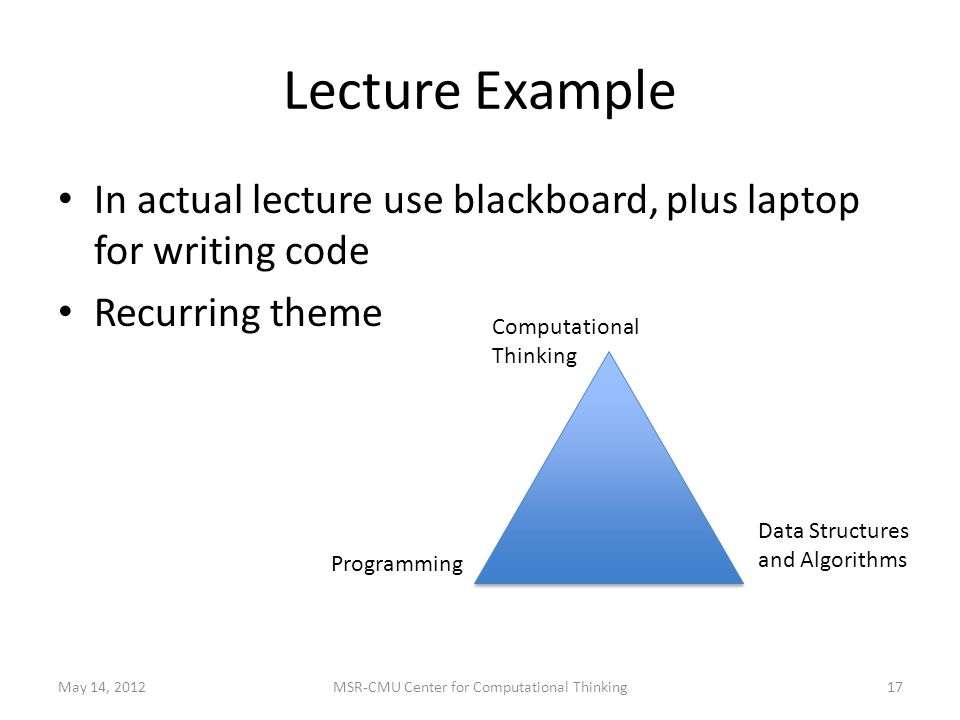 Lecture Example In actual lecture use blackboard, plus laptop for writing code Recurring theme Computational Thinking Data Structures and Algorithms Programming May 14, MSR-CMU Center for Computational Thinking