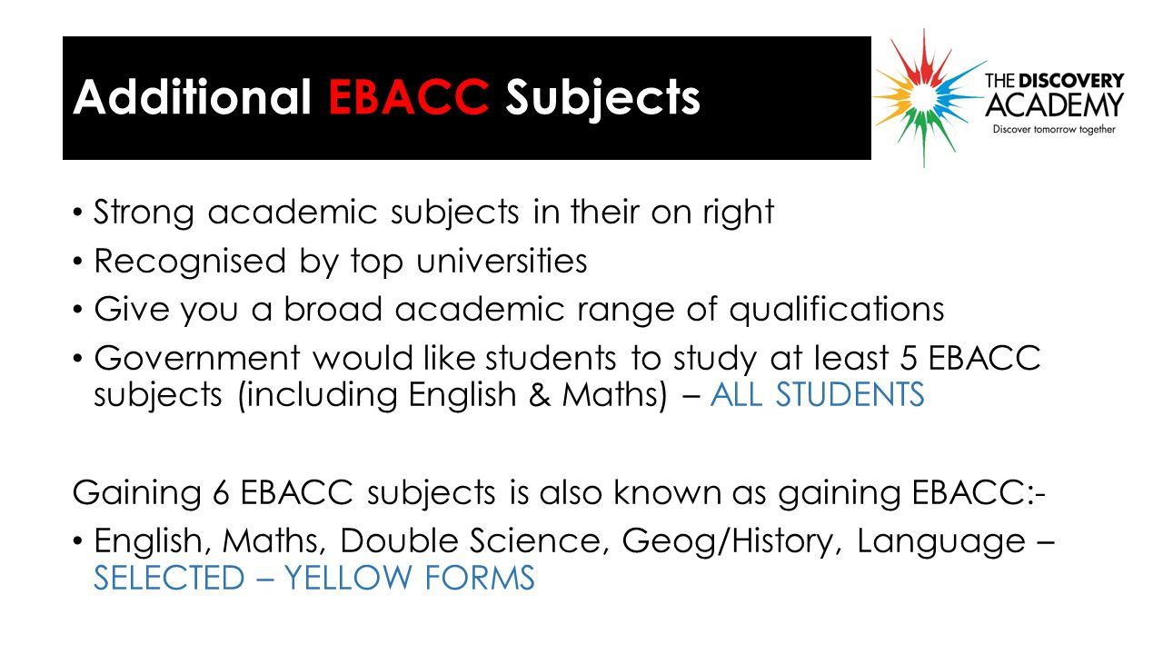 Why EBACC Subjects .