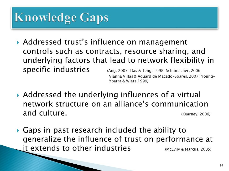  Addressed trust's influence on management controls such as contracts, resource sharing, and underlying factors that lead to network flexibility in specific industries (Ang, 2007; Das & Teng, 1998; Schumacher, 2006; Vianna Villas & Aduard de Macedo-Soares, 2007; Young- Ybarra & Wiers,1999)  Addressed the underlying influences of a virtual network structure on an alliance's communication and culture.