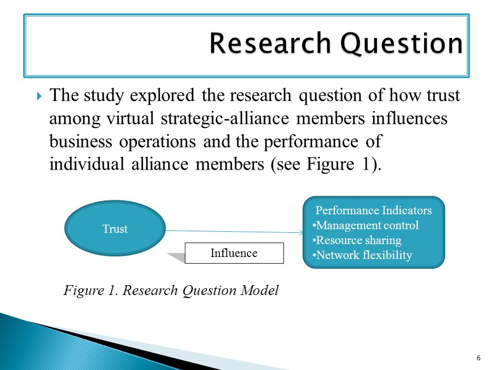  The study explored the research question of how trust among virtual strategic-alliance members influences business operations and the performance of individual alliance members (see Figure 1).