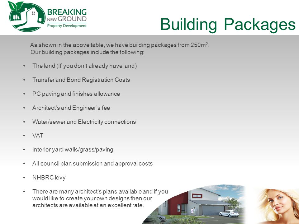 Building Packages As shown in the above table, we have building packages from 250m 2.
