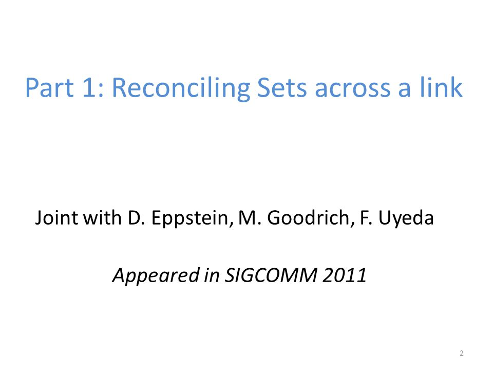 2 Part 1: Reconciling Sets across a link Joint with D.
