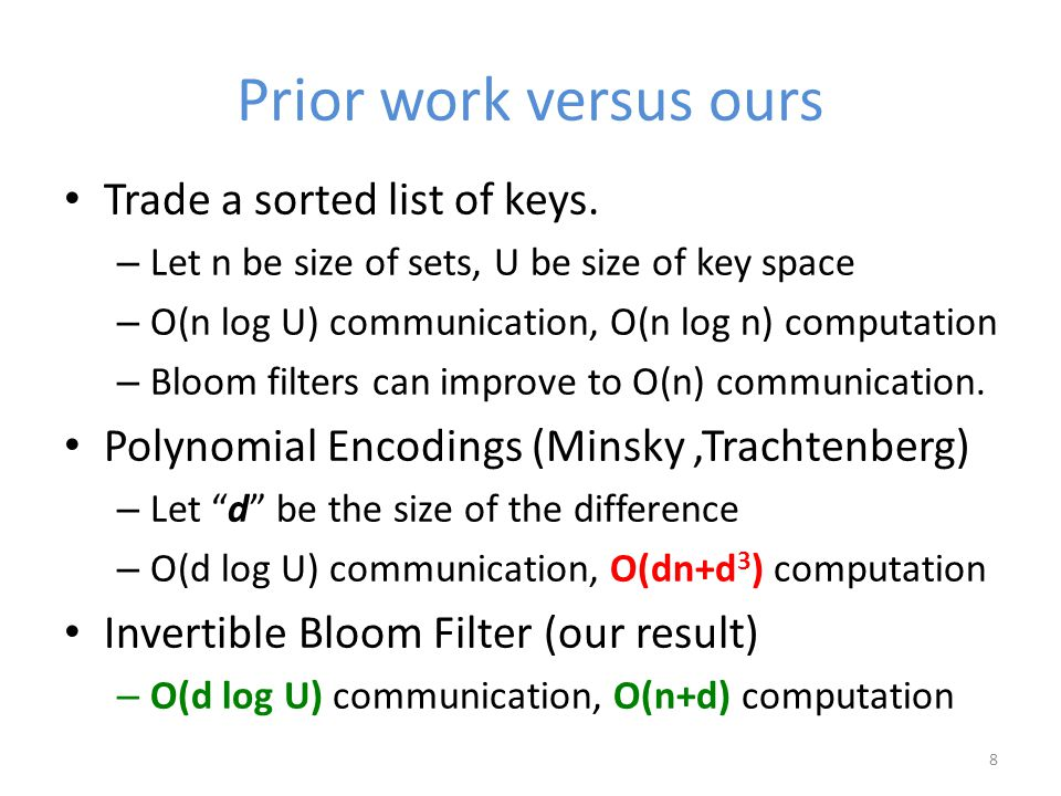 Prior work versus ours Trade a sorted list of keys.