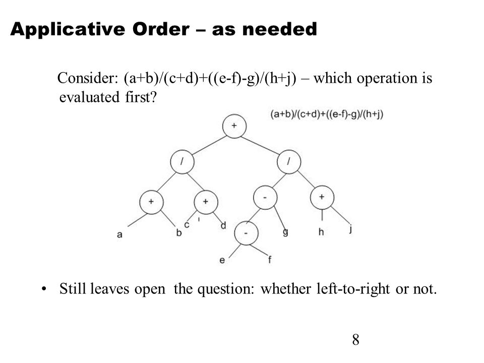Applicative Order – as needed Consider: (a+b)/(c+d)+((e-f)-g)/(h+j) – which operation is evaluated first.