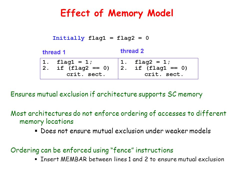 Effect of Memory Model Ensures mutual exclusion if architecture supports SC memory Most architectures do not enforce ordering of accesses to different memory locations  Does not ensure mutual exclusion under weaker models Ordering can be enforced using fence instructions  Insert MEMBAR between lines 1 and 2 to ensure mutual exclusion 1.