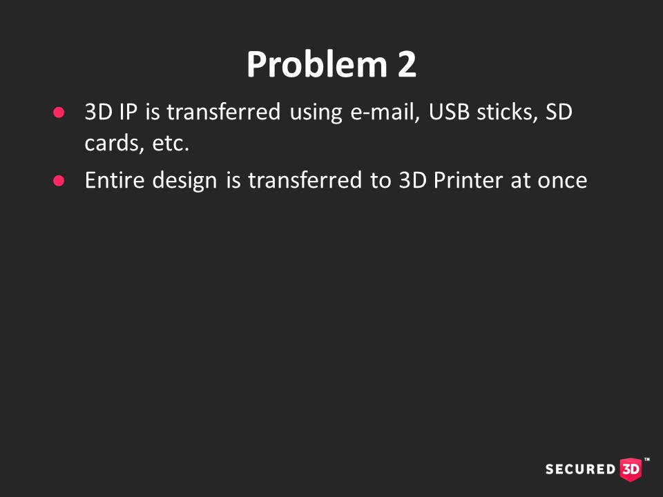 ●3D IP is transferred using e-mail, USB sticks, SD cards, etc.