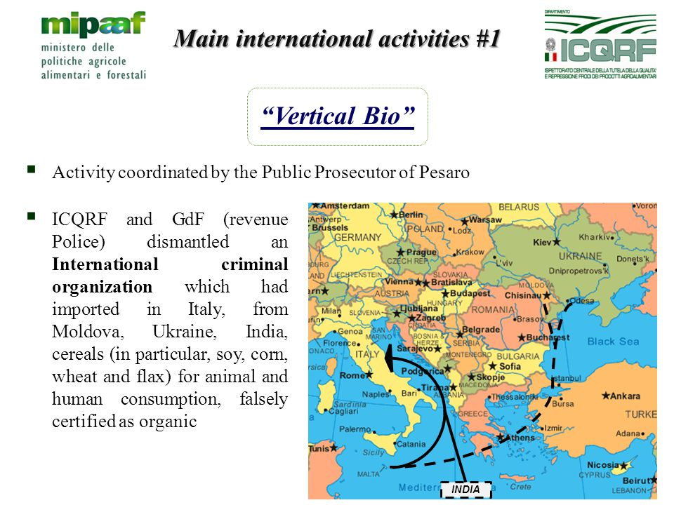 Main international activities #1 Vertical Bio  ICQRF and GdF (revenue Police) dismantled an International criminal organization which had imported in Italy, from Moldova, Ukraine, India, cereals (in particular, soy, corn, wheat and flax) for animal and human consumption, falsely certified as organic  Activity coordinated by the Public Prosecutor of Pesaro INDIA