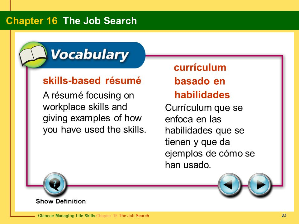 Glencoe Managing Life Skills Chapter 16 The Job Search Chapter 16 The Job Search 23 skills-based résumé currículum basado en habilidades A résumé focusing on workplace skills and giving examples of how you have used the skills.
