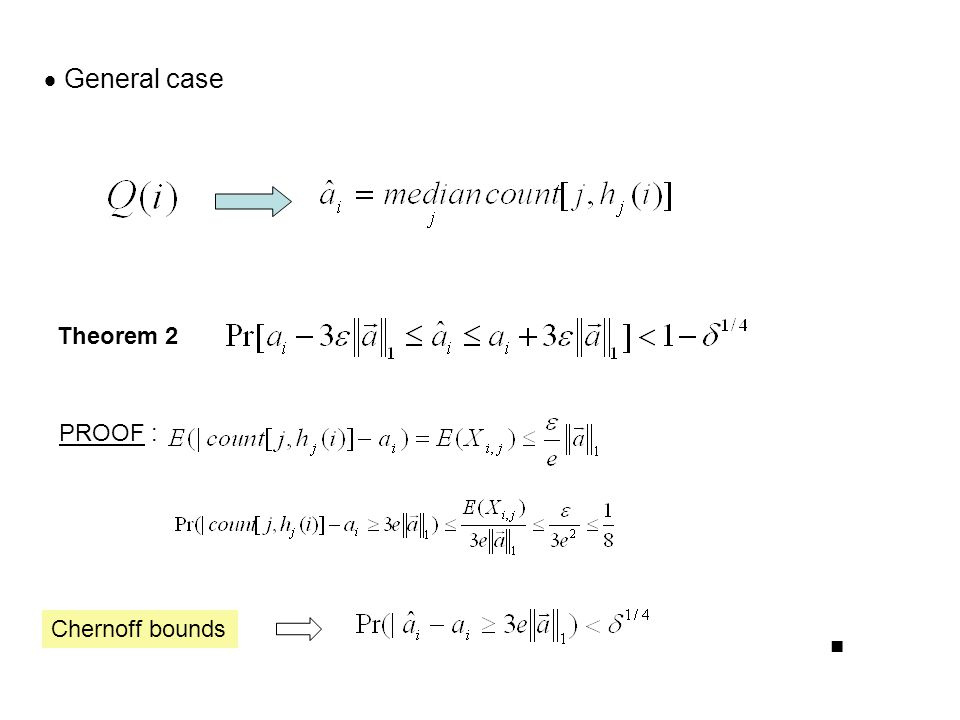  General case Theorem 2 PROOF : Chernoff bounds ■