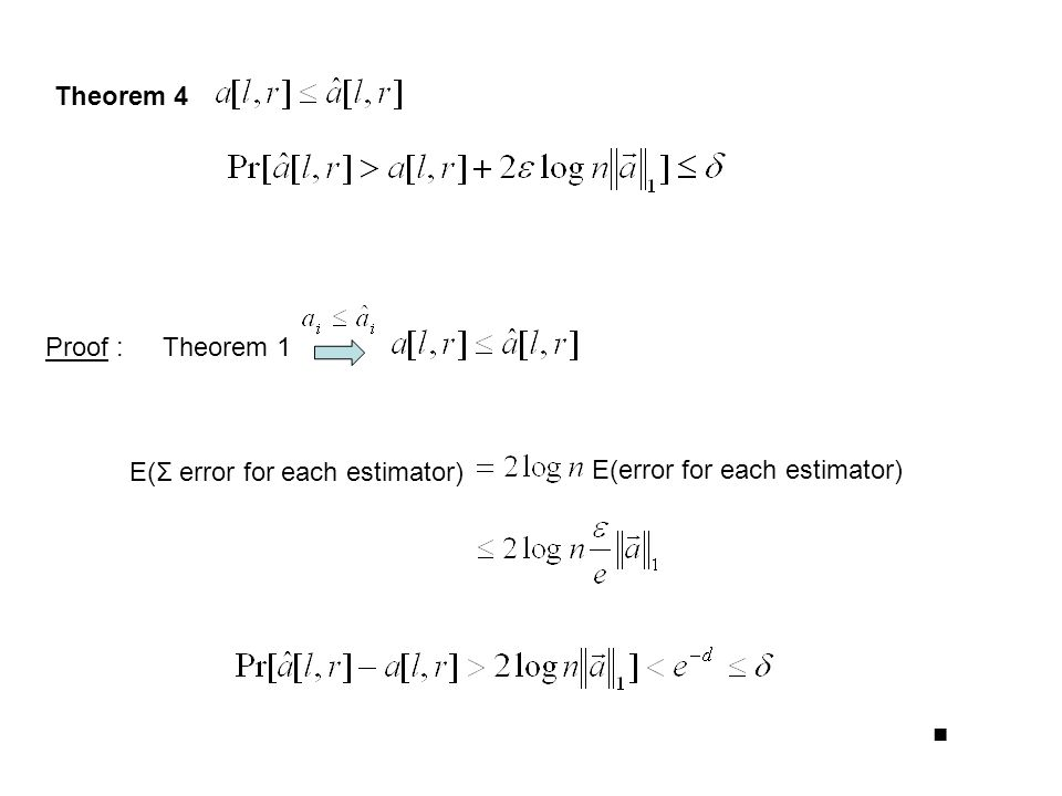Theorem 4 Proof :Theorem 1 E(Σ error for each estimator) E(error for each estimator) ■