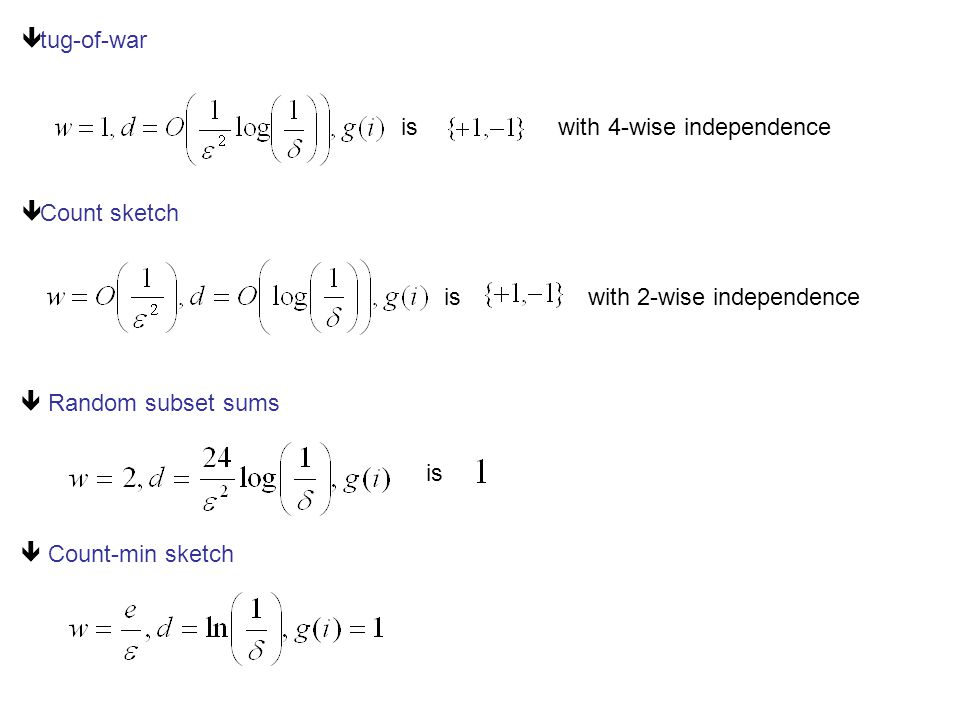 ê tug-of-war is with 4-wise independence ê Count sketch  Random subset sums  Count-min sketch is with 2-wise independence is