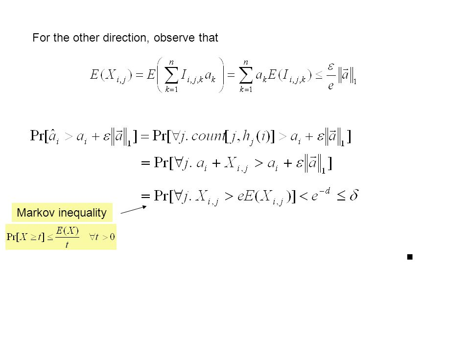 For the other direction, observe that Markov inequality ■