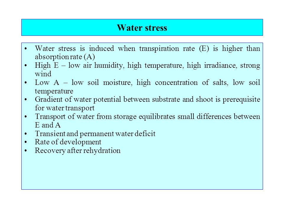 Water stress Water stress is induced when transpiration rate (E) is higher than absorption rate (A) High E – low air humidity, high temperature, high irradiance, strong wind Low A – low soil moisture, high concentration of salts, low soil temperature Gradient of water potential between substrate and shoot is prerequisite for water transport Transport of water from storage equilibrates small differences between E and A Transient and permanent water deficit Rate of development Recovery after rehydration