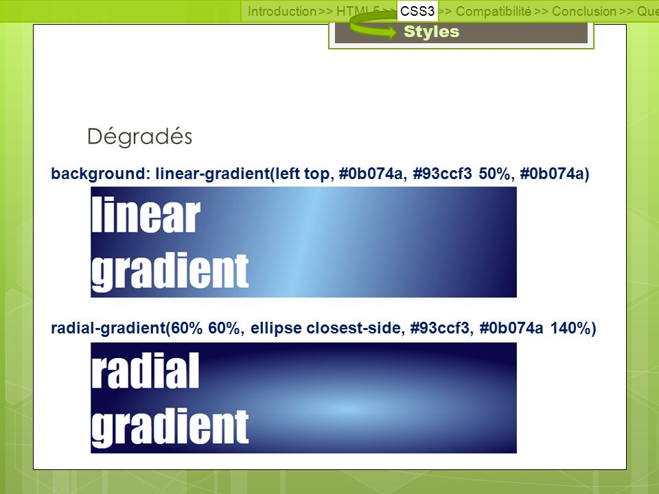 Introduction >> HTML5 >> CSS3 >> Compatibilité >> Conclusion >> Questions >> Documentation Styles Dégradés radial-gradient(60% 60%, ellipse closest-side, #93ccf3, #0b074a 140%) background: linear-gradient(left top, #0b074a, #93ccf3 50%, #0b074a)