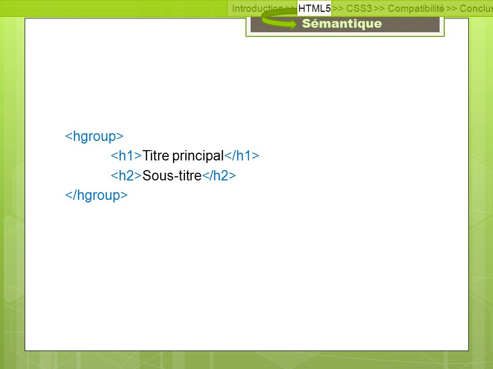 Introduction >> HTML5 >> CSS3 >> Compatibilité >> Conclusion >> Questions >> Documentation Sémantique Titre principal Sous-titre