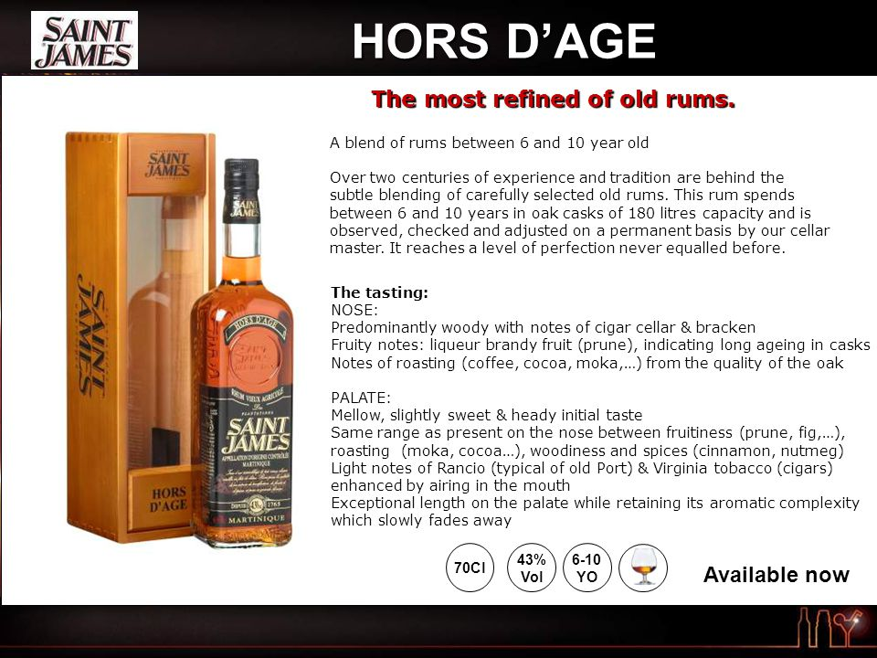 HORS D'AGE A blend of rums between 6 and 10 year old Over two centuries of experience and tradition are behind the subtle blending of carefully selected old rums.