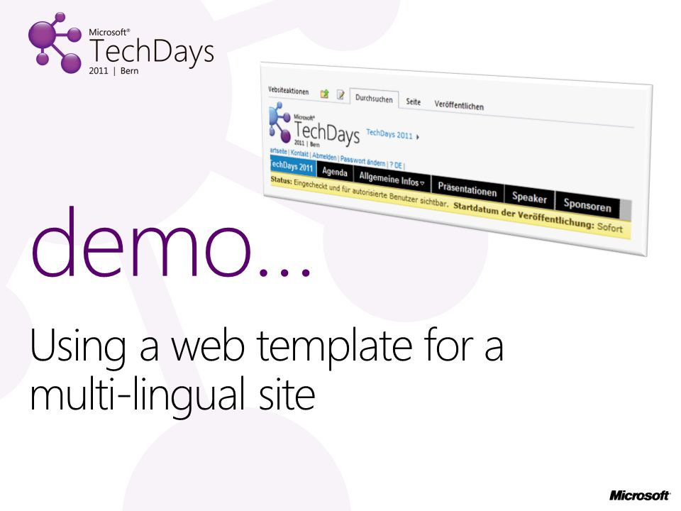 Using a web template for a multi-lingual site demo…