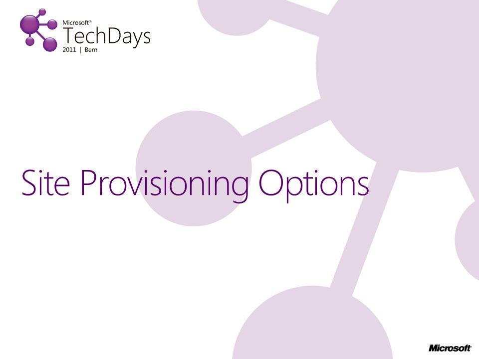 Site Provisioning Options