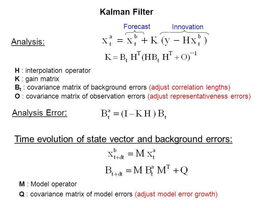Kalman Filter M : Model operator Q : covariance matrix of model errors (adjust model error growth) Analysis: Analysis Error : Time evolution of state vector and background errors: Innovation Forecast H : interpolation operator K : gain matrix B t : covariance matrix of background errors (adjust correlation lengths) O : covariance matrix of observation errors (adjust representativeness errors)